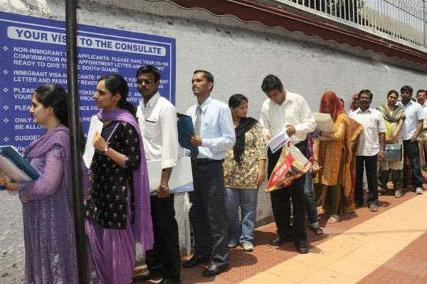 Typical Queue outside the Consulate. Representational Image. Courtesy: Mirchi9