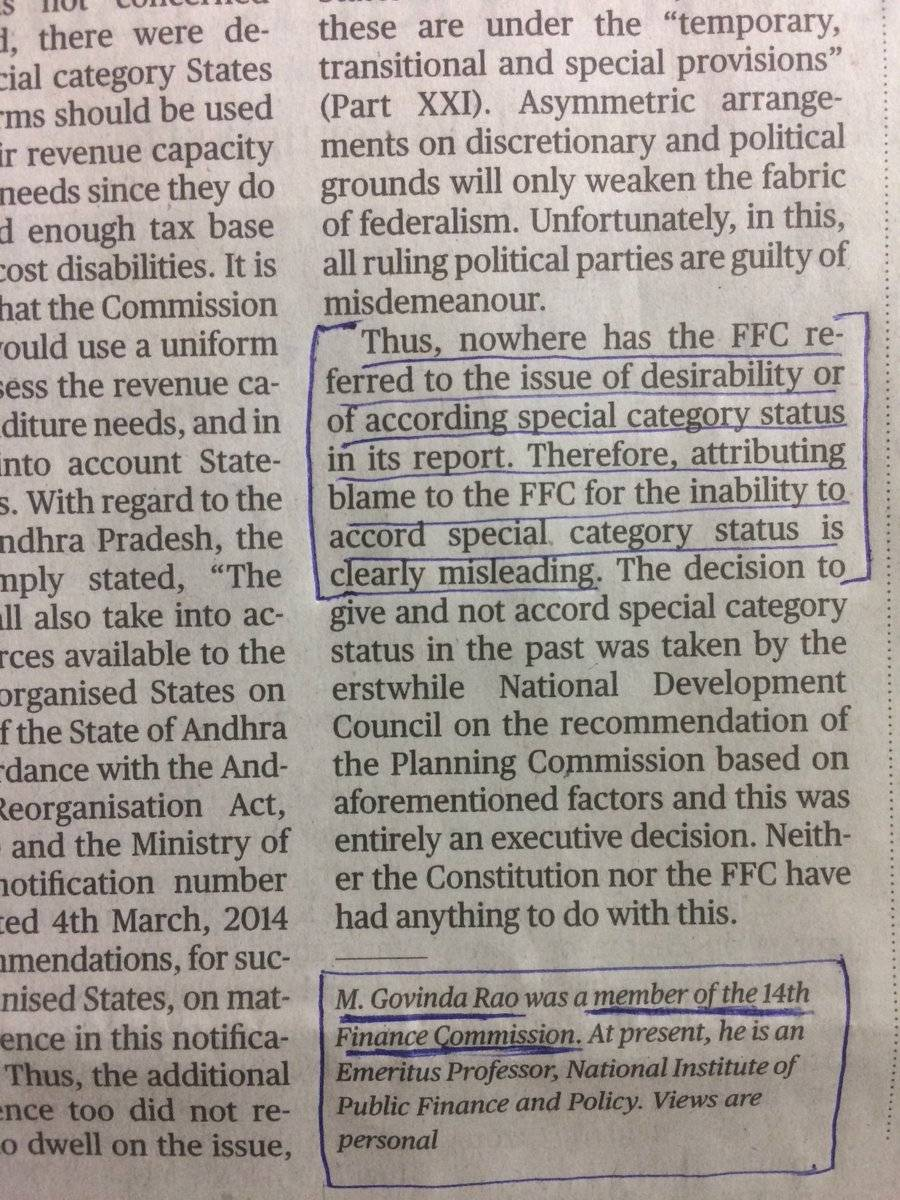 14th Finance Commission Member Refutes Jaitley's Claim on Special Status