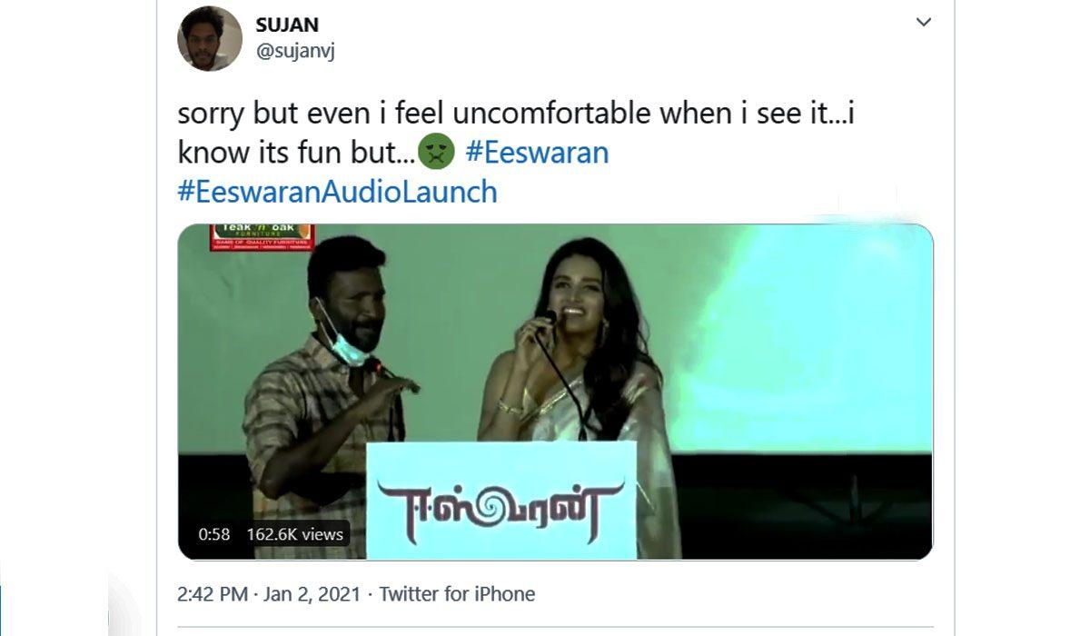 Suseenthiran Nidhhi Agerwal Eeswaran audio launch controversy Simbu Tamil movie
